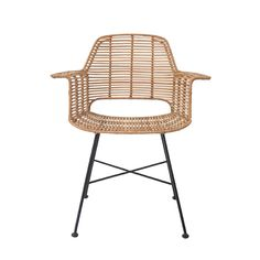 Beautiful rattan dining chair from Dutch brand HK Living. The chair has a strong metal frame around it is woven rattan and painted olive green, black or natural. Combine the chair with the colours in the same series to create a unique setting.