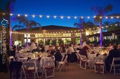 Patio lights at Sheraton Carlsbad wedding reception