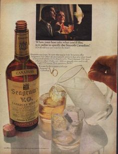 """Description: 1967 SEAGRAM'S vintage print advertisement """"the Smooth Canadian""""-- When your host asks what you'd like, is it polite to specify the Smooth Canadian? Seagram's Canadian V.O. -- Size: The dimensions of the full-page advertisement are approximately 11 inches x 14 inches (28cm x 36cm). Condition: This original vintage advertisement is in Very Good Condition unless otherwise noted ()."""