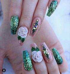 green and nude rose nails Acrylic Nail Art, 3d Nail Art, Acrylic Nail Designs, Nail Art Designs, Art 3d, Nails Design, Fancy Nails, Bling Nails, 3d Nails