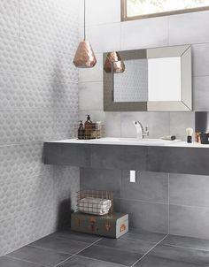 Ted Baker Ceramic Tiles, the choice for our bathroom renovation, look stylish and stunning with the copper lampshade and grey accessories