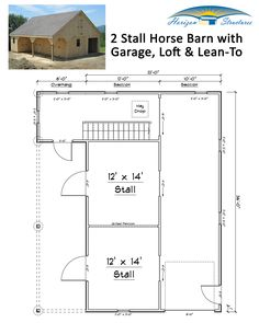 """This 22x36 modular """"high profile"""" horse barn has it all:  2 HUGE 12x14 stalls, massive 8x36 garage/equipment storage area, 6x20 tack/feed room, attached lean-to and full loft.  Starting at about $40k.  Request a quote thru our website."""