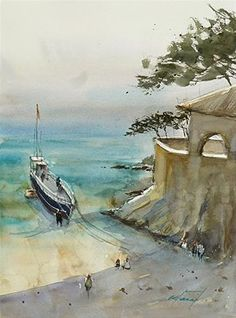 """My Watercolor Painting Trip in Spain"" - Original Fine Art for Sale - © Keiko Tanabe"