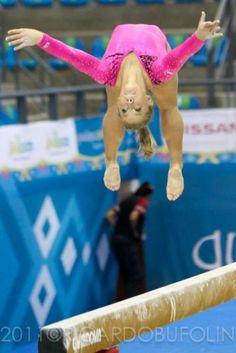 Shawn Johnson (United States) on balance beam at the 2011 Pan Am Championships