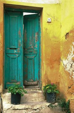 Athens, Greece, love the color combination of the door and the walls.