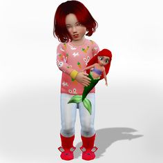 """The little mermaid - ariel costumes + doll (toy) and acc """" ● Sims 4 Toddler, Toddler Toys, Baby Toys, The Sims 4 Bebes, Ariel Costumes, Mermaid Toys, Ariel Doll, Sims Free Play, Sims 4 Cc Kids Clothing"""