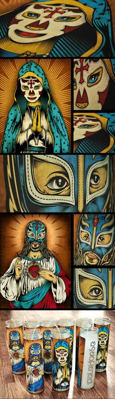 Our Lady of Lucha Libre prayer candles and signed prints by Pale Horse.