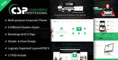 CSP - Multipurpose PSD Template by DCTECH CSP (Clean, Simple, Perfect) is a professionally designed multipurpose template. Modern, clean and easy to customize unique PSD Te