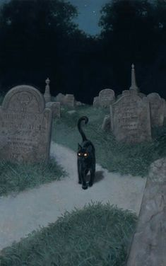 Black cat at a cemetery crossroad. I'… Black cat at a cemetery crossroad. I'm just saying that lots of beings would be quite at home as a black cat. (Art by Tristan Elwell) Halloween Pictures, Halloween Art, Spooky Pictures, Vintage Halloween Cards, Happy Halloween, Witch Aesthetic, Aesthetic Art, Black Cat Aesthetic, Arte Indie