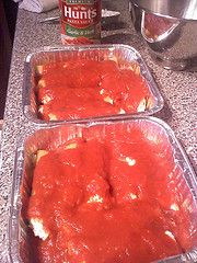 No Boil Cheese Manicotti - package and freeze in mini bread pans for individual servings.