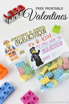 Lego Valentines with a Free Lego Movie Printable - Click for printable and tutorial!