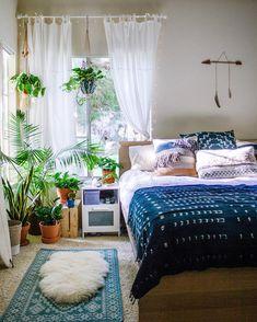 Beautiful, sunny, boho bedroom by Sara Toufali (@saratoufali) on Instagram
