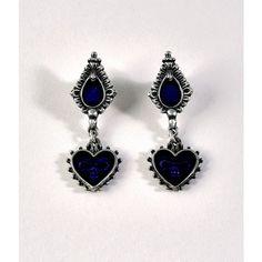 Alchemy Silver & Purple Mirror Of The Soul Drop Earrings (€31) ❤ liked on Polyvore featuring jewelry, earrings, silver, drop earrings, purple drop earrings, teardrop earrings, silver heart earrings and silver skull earrings