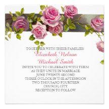 Pink Romantic Roses Wedding Invite