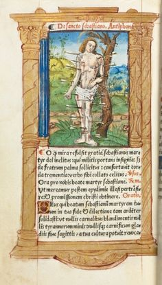 Printed Book of Hours (Use of Rome): fol. 102v, St. Sebastian | Cleveland Museum of Art