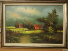 Beauty!Vintage signed O/C  signed A.CYNTON 42X30 scenic farm houses by river #Impressionism Riverside House, Vintage Landscape, Farm Art, English House, Farm Houses, Old Paintings, House Painting, Vintage Signs, Impressionism