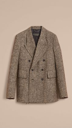 Donegal Herringbone Wool Tweed Blazer Caramel | Burberry