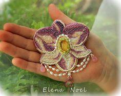 Gentle lavender Orchid embroidered brooch от ElenNoel на Etsy, $140.00