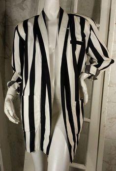 Vintage 80s Norma Kamali Black and White Striped Oversize Blazer with Pockets #NormaKamali