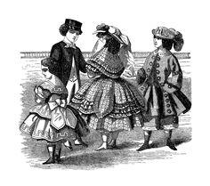 Digital Stamp Design: Free Antique Fashion Digital Stamp: 1859 Antique, Victorian Fashion Illustration