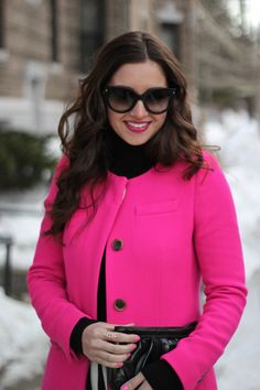 Hot pink coat paired with the black and white striped skirt is a perfect Valentine's Day outfit!