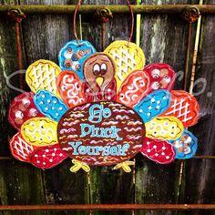 Custom Trixie Turkey U0027Go Pluck Yourselfu0027 Burlap Door Hanger By Severs U0026 Co.