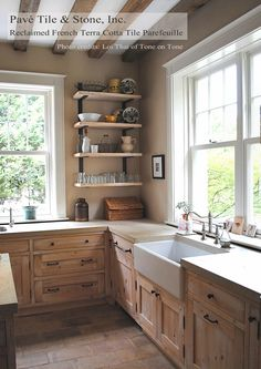 French Reclaimed Terra Cotta Tile Parefeuille - flooring thru skullery, kitchen. take out window for storage. raw looking cabinet finish. keep window over sink no beams to ceiling.