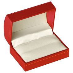 """Noble Gift Packaging's """"Elsinore"""" collection brings you traditionally styled red jewellery boxes with slightly domed lids and delicate gold stripe accents. These boxes have soft felt inserts and satin lined lids."""