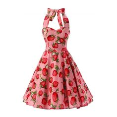 Women's Vintage Strawberry Print Halter A-line Dress (145 RON) ❤ liked on Polyvore featuring dresses, red, halter neck dress, vintage halter top, a line cocktail dress, vintage halter dress and red halter cocktail dress