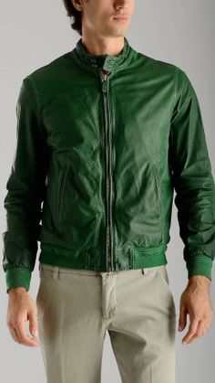 Bomber leather jacket in green