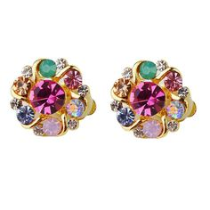 CINDY XIANG Clip on Earrings for Women Colorful Rhinestone Earrings Without Piercing Earrings Cute Korea Style High Quality