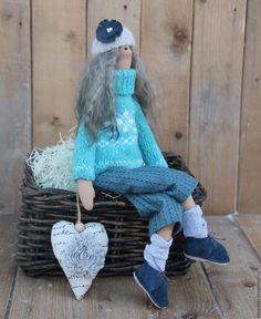 Купить Тильда в бирюзовом свитере. - бирюзовый, тильда, тильда в брюках, тильда в свитере, подарок