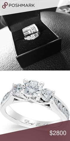 2 Ct Diamond 3 Stone Engagement Ring in 14k Elegant design with 2 carat round cut diamond ( authentic ) brand new , 14k white gold ,diamond color rating code : I-J diamond clarity -I2 . Originally 6,000$ , it's a beautiful gorgeous ring . Pls feel free to ask me a question , I'm looking to sell or trade for Louis Vuitton purses. Jewelry Rings