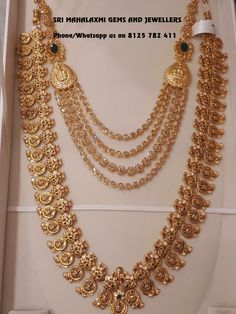 22 carat gold antique work peacock Lakshmi long chain with Moissanite stones and small emeralds combination from Sri Mahalaxmi Gems and jewellers