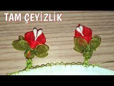 kurdele oyaları gala çiçeği yazmada ,yazma örnekleri - YouTube Organza Flowers, Ribbon Work, Silk Ribbon Embroidery, Beads, Sewing, Crafts, Diy, Youtube, Craft Flowers