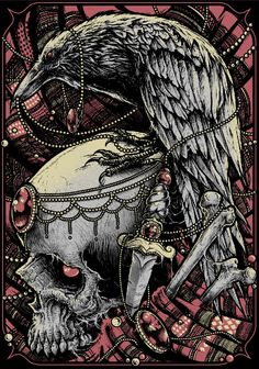 Skull and crow wow! Memento Mori, Illustrations, Illustration Art, Horror, Drawn Art, Desenho Tattoo, New Poster, Gothic Art, Skull And Bones