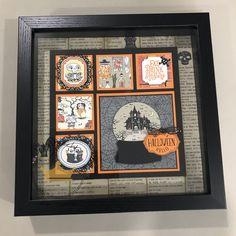 Halloween Items, Halloween Home Decor, Halloween Cards, Halloween Fun, Fall Craft Fairs, Halloween Shadow Box, Box Frame Art, Frame Crafts, Fall Cards