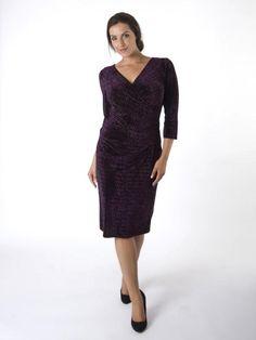 Chesca Aubergine Crush Diamond Stretch Velvet Occasion Dress