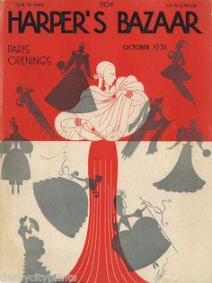 Erte Print Original Vtg 1931 Art Deco Harpers Bazaar Bazar Linen Backed Cover   eBay