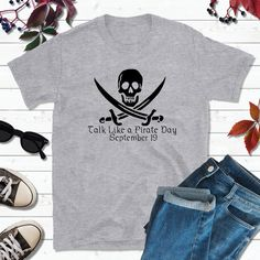 *PLEASE NOTE: Womens sizes tend to run small* List price is for one shirt. Welcome to Lake Erie Goods! Show your fun side in style and grab one of my tees or tank tops (long-sleeved and toddler tees also available) in three popular colors, white, gray or black. Pair my tees with your favorite jeans, shorts or PJ bottoms. Other t-shirt sizes and colors can be special ordered, and I have a large selection of vinyl colors. Upgrade to glitter or print on the back for just $3.00. Sport number and… Boat Shirts, Pirate Shirts, Fishing Shirts, Couple Shirts, Family Shirts, Graduation Shirts For Family, Pirate Day, Screen Printing Shirts, My T Shirt