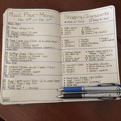 Bullet Journal meal plan - like the have on hand bullets and need to buy squares.