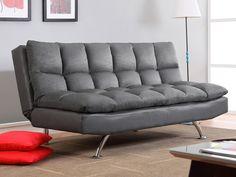 Descubre el sofá clic-clac DIDIER tapizado de tela de microfibra y piel sintética y podrás disfrutar de un asiento de 3 plazas y de una cama de 2 plazas.