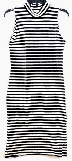 Charlotte Russe Bodycon Dress Sleeveless Black and White Striped Juniors  Large  CharlotteRusse  MaxiDress   e345dccbb