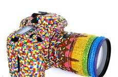Sprinkles 7D Camera by PJ Linden.  Willy Wonka inspired painted like candy Canon camera.