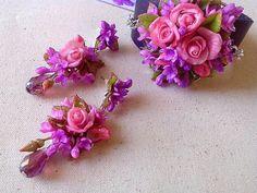 fimo/polymer clay flower jewelry bracelet flowers,pink roses,purple lilacs,flowers earrings,polymer clay,bracelet made of polymer clay,leather bracelet,handmade,jewelry set