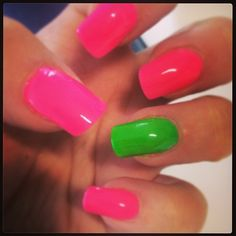 Acrylic nails with perfect match 2week polish Pink and green x