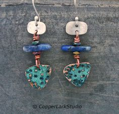 Copper shield dangle earrings w/ textured by CopperLarkStudio Copper Jewelry, Jewelry Art, Jewellery, Matt And Blue, Green Copper, Modern Boho, Boho Earrings, Artisan Jewelry, Gifts For Her