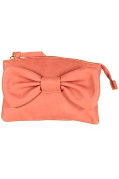 Coral Bow Makeup Bag - StyleSays Oversized Clutch 9b17cce552417