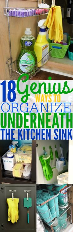 18 easy ways to organize underneath your kitchen sink.