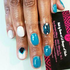 Gel manicure with designs
